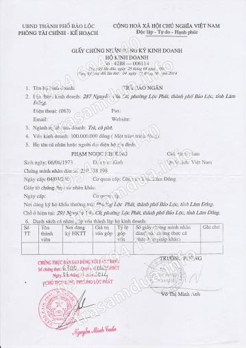 Giấy phép chứng nhận đăng ký kinh doanh Trà sâm dứa